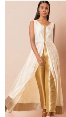 Elegant White & Gold Slit Suit